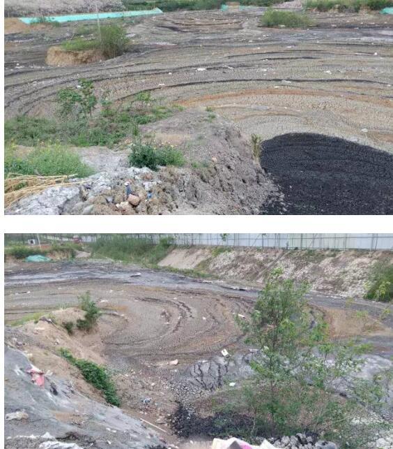 上面用石子做掩盖,地下全是黑色,白色等各种各样的垃圾,也是刺鼻难闻.